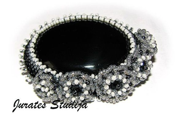 Brooch Black agate by SoutageDreams on Etsy