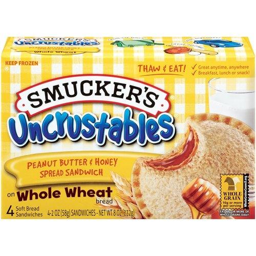 Smucker's Peanut Butter & Honey Spread Uncrustables Soft Bread Sandwiches.