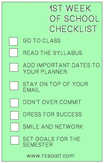 1st week of school checklist! This works the 2nd and 3rd week too!
