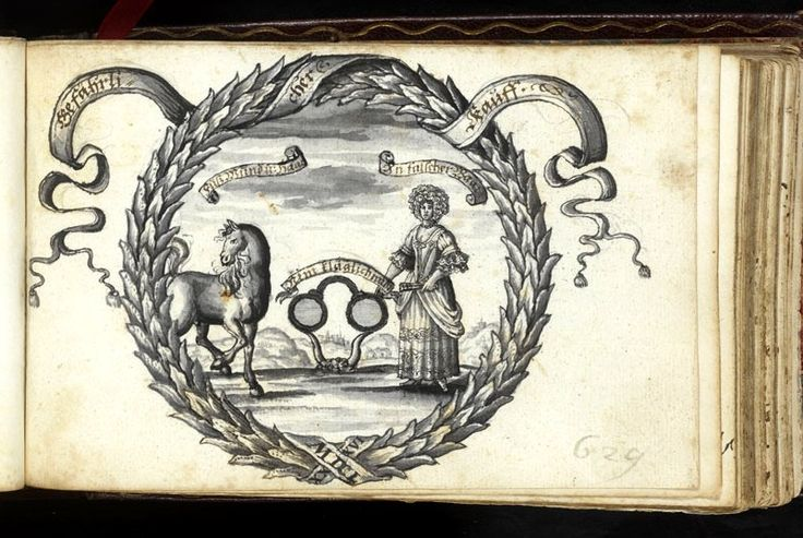 """fascinating emblem of cuckoldry dated 1686 from the Bentz album. The motto is """"Gefahrlicher Kauff"""" [the more dangerous purchase] -- I suspect this means is the horse or the woman the more dangerous acquisition? -- the cuckold's horns and spectacles [for which SEE BELOW] between the two suggest the latter -- still trying to read the other captions -- will get back to you! [image via the HAAB, Weimar]"""
