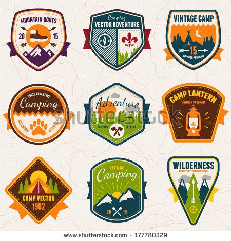 stock-vector-set-of-vintage-summer-camp-badges-and-outdoors-logo-emblems-177780329.jpg (450×470)