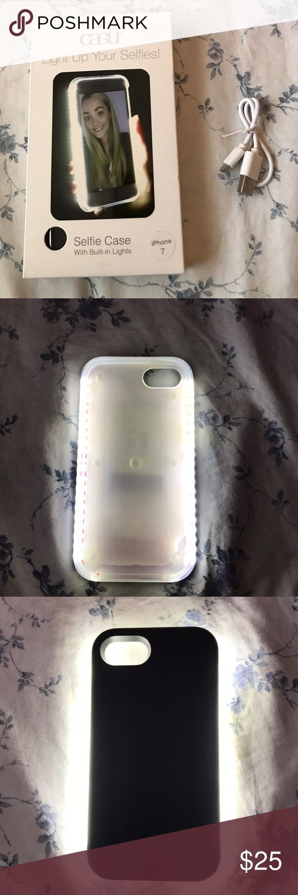 Selfie case never used! This is not just your ordinary selfie case, it is a tough and durable plastic case that will withstand drops from waist level without damage to your phone. This case usually costs around US currency $25-50 (before tax and S&H) Purchased in the UK. it shines bright like a ring light for the perfect selfie. Im selling because I upgraded to a iPhone 7 PLUS, so it doesnt fit my phone. Brand new, never used. Price firm because I'm trying to get some of my money back…