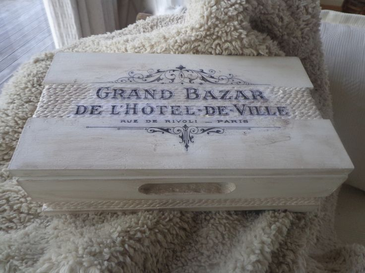 Chalk painted wooden box with Graphics Fairy image.