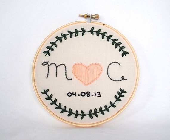 Wedding Initial Embroidery Hoop. Custom Hand Embroidered Wedding Gift
