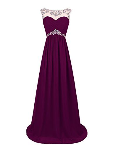 Dresstells® Long Chiffon Prom Dress with Beadings Wed…
