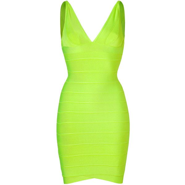 HERVÉ LÉGER Neon Green Bandage Dress ($573) ❤ liked on Polyvore featuring dresses, vestidos, herve leger, short dresses, green, herve leger dress, short green cocktail dress, spaghetti strap dress, green dress and neon dresses
