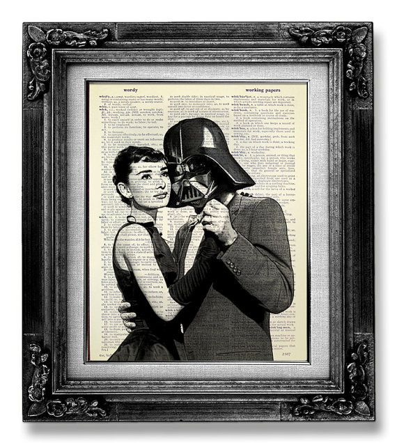 Darth Vader Star Wars Art Print, AUDREY HEPBURN Poster, Star Wars Print on DICTIONARY Paper, Hollywood Poster Artwork - Impossible Movie