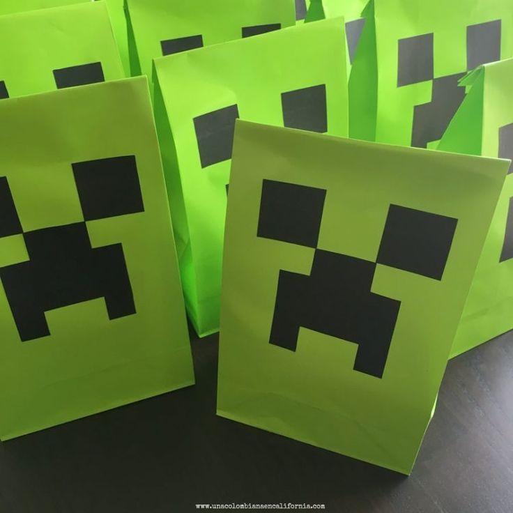 Cumpleaños estilo Minecraft Bolsas de sorpresas / Goodie bags