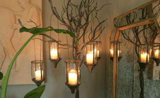 Metal Rustic Candle Tree Light - Candle Holder / Lamp - Conservatory Lighting
