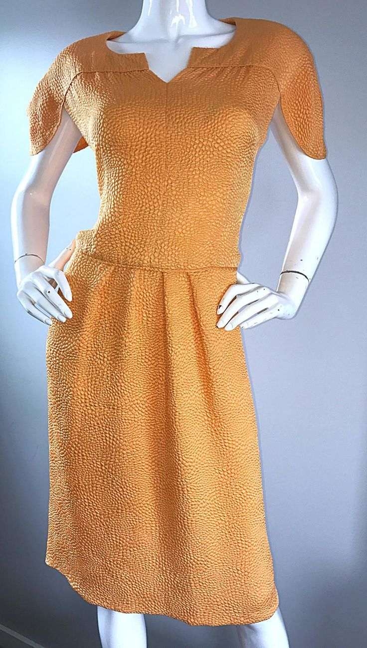 NWT Vintage Ripetta Roma $4,200 Neiman Marcus Size 14 Marigold 1990s Silk Dress | From a collection of rare vintage evening dresses and gowns at https://www.1stdibs.com/fashion/clothing/evening-dresses/