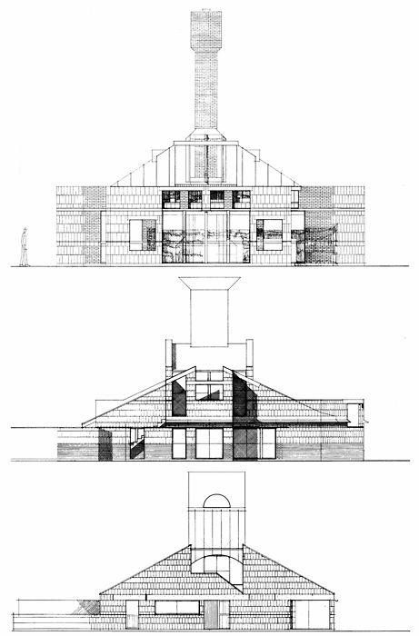 Venturi Scott Brown, Vanna Venturi House, Early Schemes,Chestnut Hill, Philadelphia, Pennsylvania,1962
