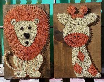 String Art Animals Safari Set Nursery Art String Art