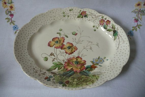 Antique Victorian Large Serving Platter by GaslightTreasures