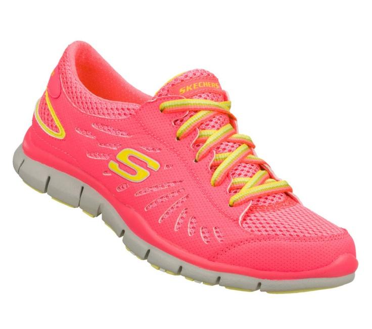 New! Women's Skechers Flex Fit- Roxette Lace-Up Sneakers in Hot Pink A3