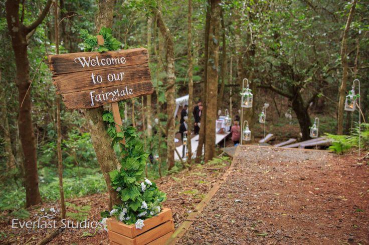 WOODLAND WEDDING RAINFOREST THEME HANGING CEREMONY DECORATIONS. O'Reillys Rainforest Retreat Rustic wedding signs