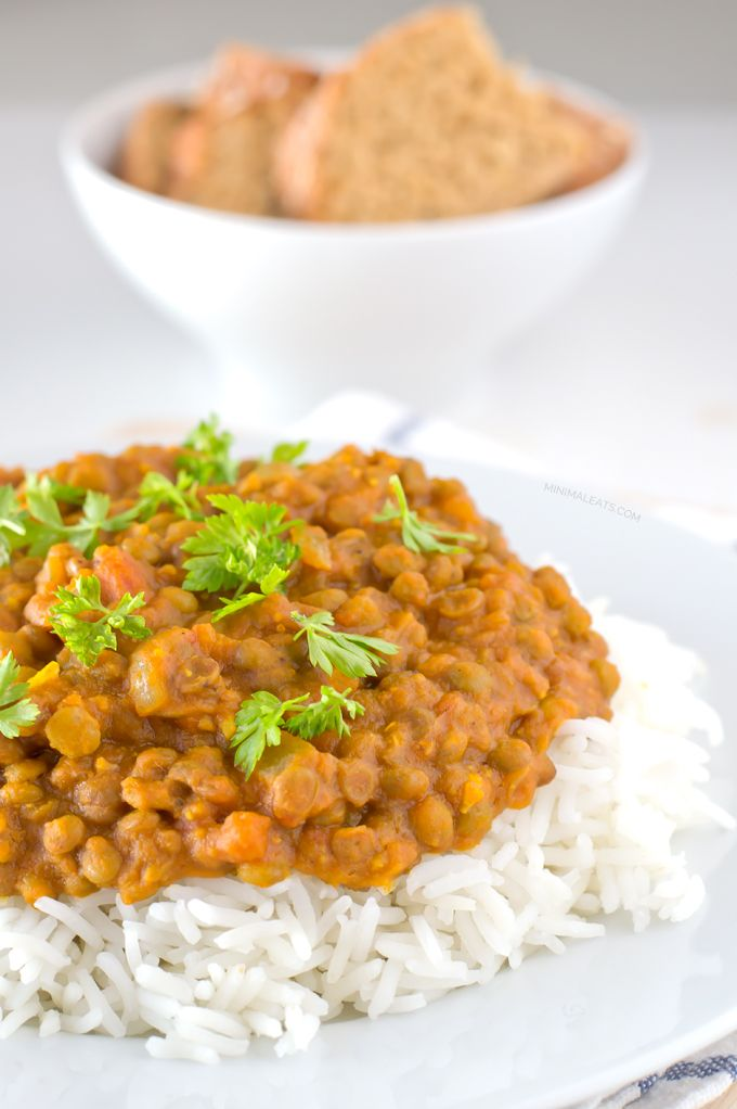 This vegan lentil curry is absolutely amazing. It's simple, exotic, spicy, tasty, creamy. Sub coconut milk with water or almond milk. over cauliflower rice