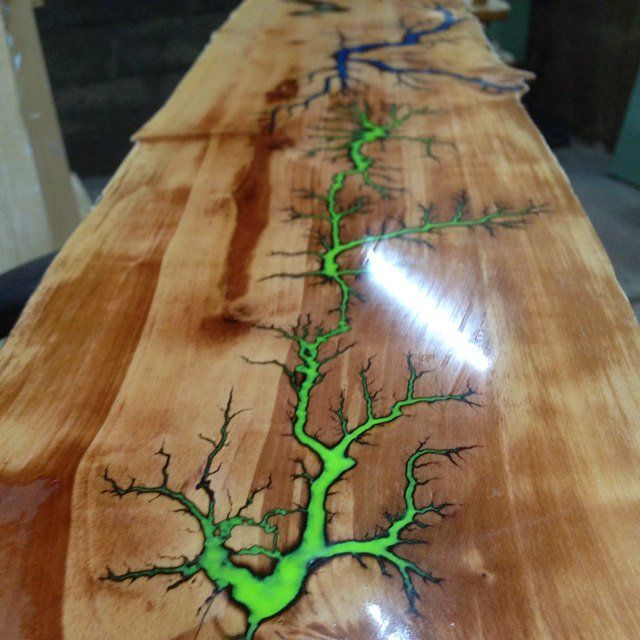 "Sold! Live edge Pear wood table with glow in the dark Lichtenberg figure green resin inlay, bow-ties inlays & ""Nakashima style"" wooden legs"