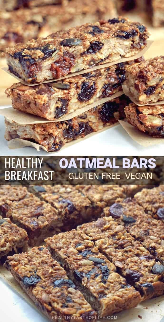Healthy Oatmeal Breakfast Bars To Go Gluten Free Vegan Healthy Taste Of Life Recipe In 2020 Oatmeal Breakfast Bars Healthy Oatmeal Breakfast Bars Homemade Oatmeal