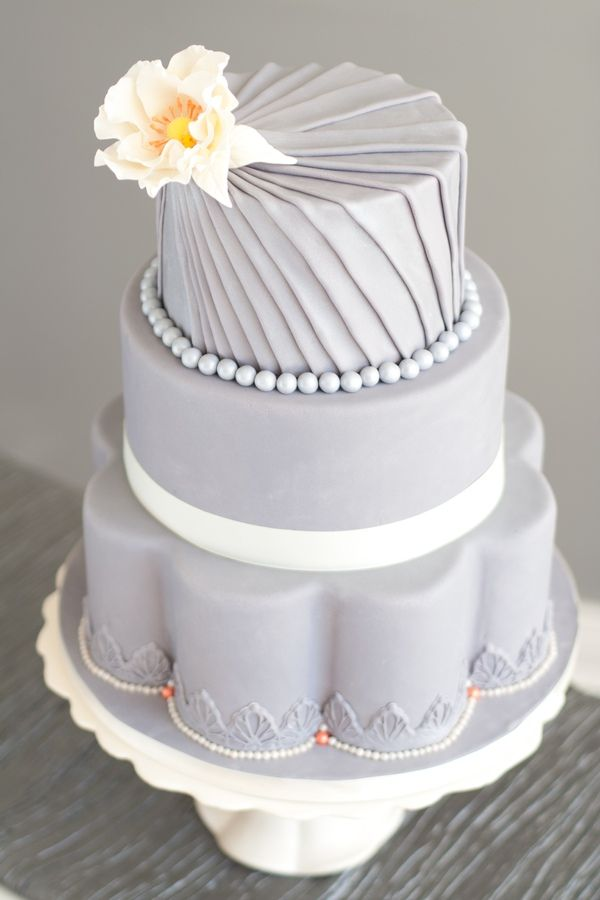 Love This Grey Cake With Yellow Accent Flower