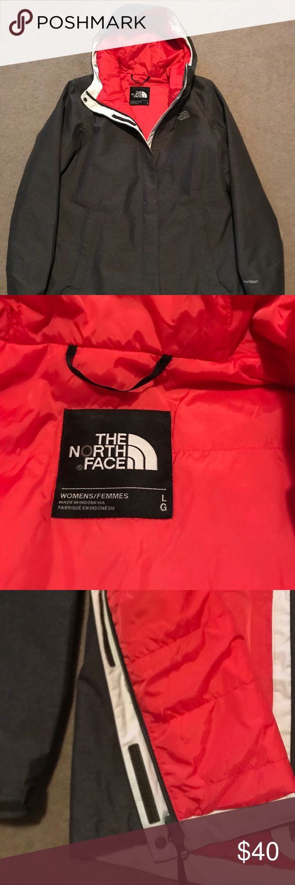 """NWOT North Face jacket New North Face jacket. Tags were removed but it is new. Warm with quilted type material on inside that is a orange/red color and dark gray outside. Zipper closure but also velcro as pictured. Pit to pit is 22"""" and length 29"""". The North Face Jackets & Coats"""