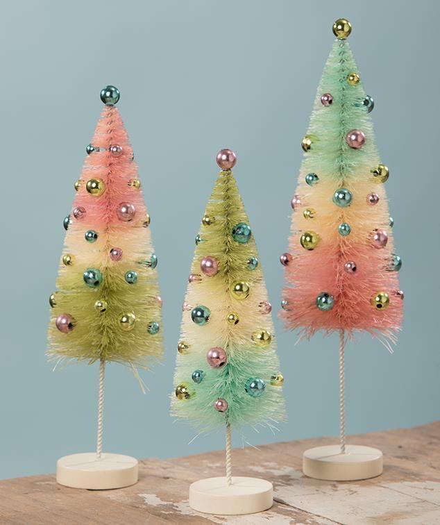 Pastel Confetti Bottle Brush Trees In 2020 Bottle Brush Trees Burlap Christmas Tree Ceramic Christmas Trees