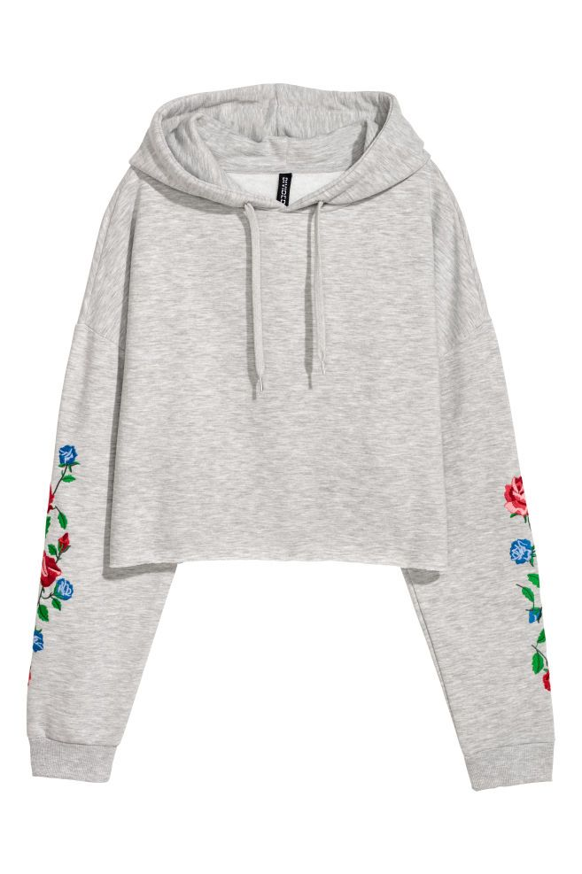 Short hooded top - Light grey marl/Flowers - Ladies | H&M GB 2