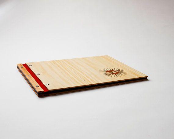 Portfolio custom engraved wood A3 folio drawing book by lorgie, $100.00