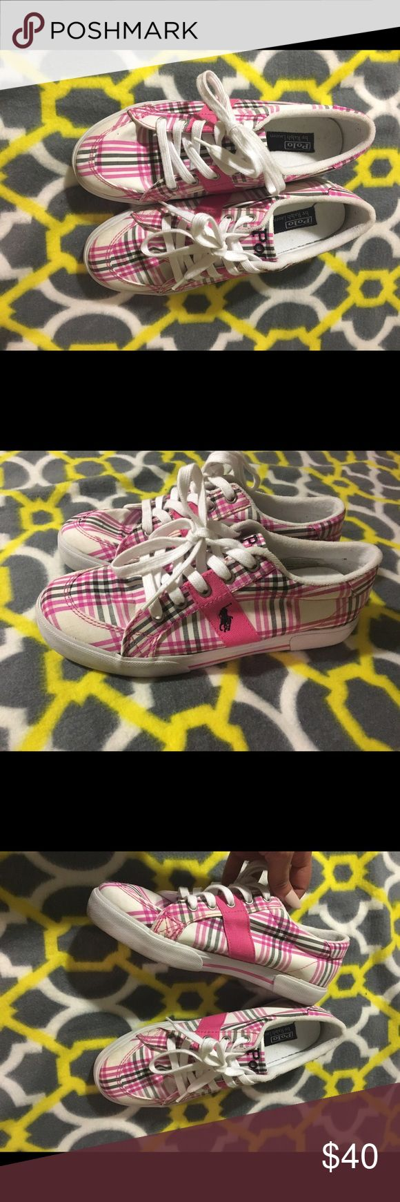 Women's polo shoes Pink & white polo shoes. Practically new I've only wore them twice. Inside of the sike are still clean & new. Cute shoes. Size 7.5 in women's Polo by Ralph Lauren Shoes Sneakers