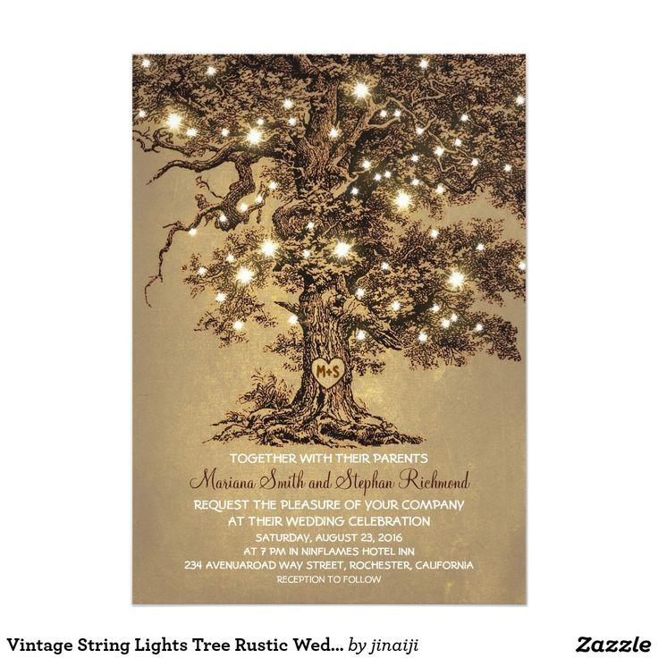 "Vintage String Lights Tree Rustic Wedding Invites 5"" X 7"" Invitation Card"