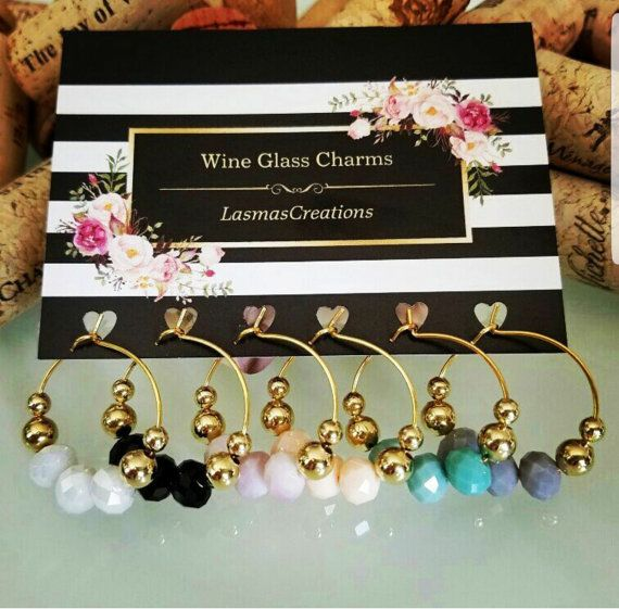 SALE! Gold Wine Glass Charms, Wine Charm Favors, Wine Lover Gift, Unique Wine Gift, Wine Tags, Party Accessories, Handmade, LasmasCreations