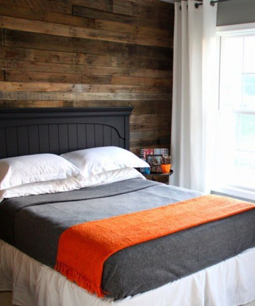 beautiful bed and bedding: Wall Decor, Pallets Wall, Woods Pallets, Boys Rooms, Boys Bedrooms Wall Color, Pallets Woods, Woods Wall, Pallets Projects, Accent Wall