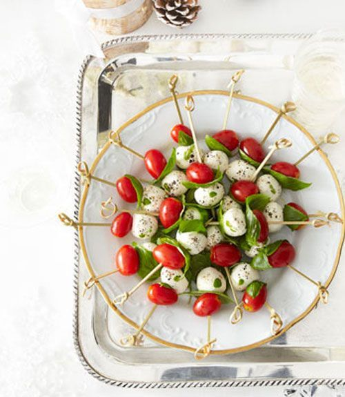 These skewers combine the flavors from caprese salads for a treat that be enjoyed at cocktail parties.