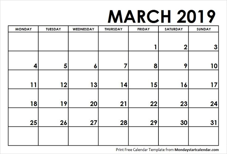 march 2019 calendar monday start