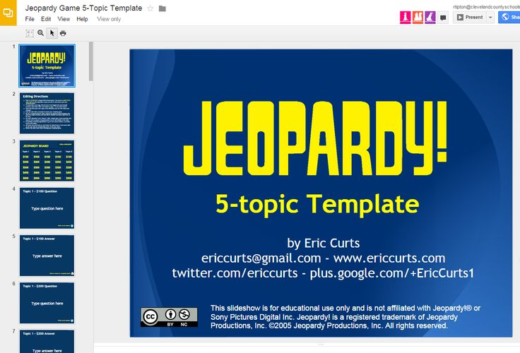 "great ""jeopardy!"" template for google slides | ed tech - google, Modern powerpoint"