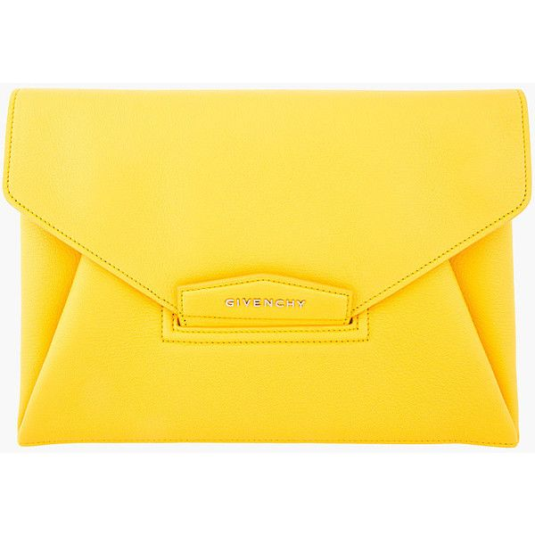 Givenchy Yellow Leather Medium Antigona Envelope Clutch (€595) ❤ liked on Polyvore featuring bags, handbags, clutches, bolsas, purses, accessories, leather clutches, yellow purse, yellow handbag and yellow clutches