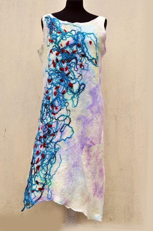 Dress felted felt wool silk fibre art gift by AleksandrabWiniarska, $120.00