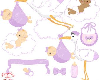Baby Girl Delivery in Purple Clipart Set
