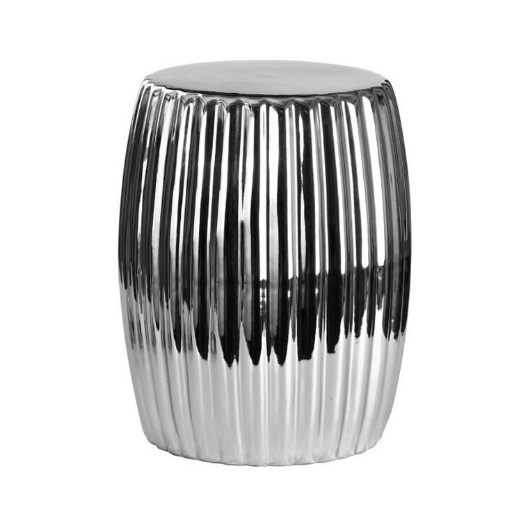 Barth Ceramic Garden Stool Chrome - Silver - Abbyson