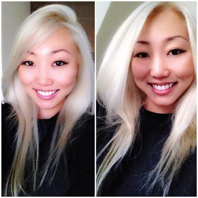 Platinum blonde Asian hair done by the gorgeous Jessica Cook! You are amazing!!! Thank you!!!
