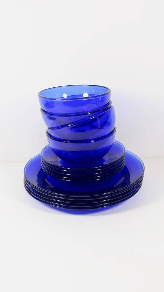 Cobalt Blue Glass Dinnerware Set 14 Pieces Mexico Service For