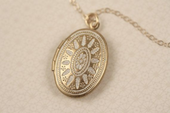 LONG Small White Ornate Locket Necklace, Oval Pendant, Delicate, 14kt Gold Filled Chain, Simple and Delicate Fashion on Etsy, $27.50