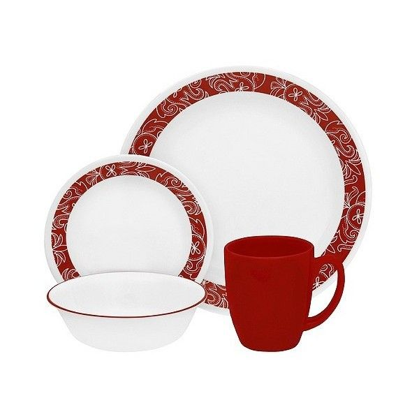 Corelle Livingware 16pc Dinnerware Set Bandhani Red ($30) ❤ liked on Polyvore featuring home, kitchen & dining, dinnerware, red, everyday dinnerware sets, red salad plates, corelle plates, red dinnerware set and corelle salad plates