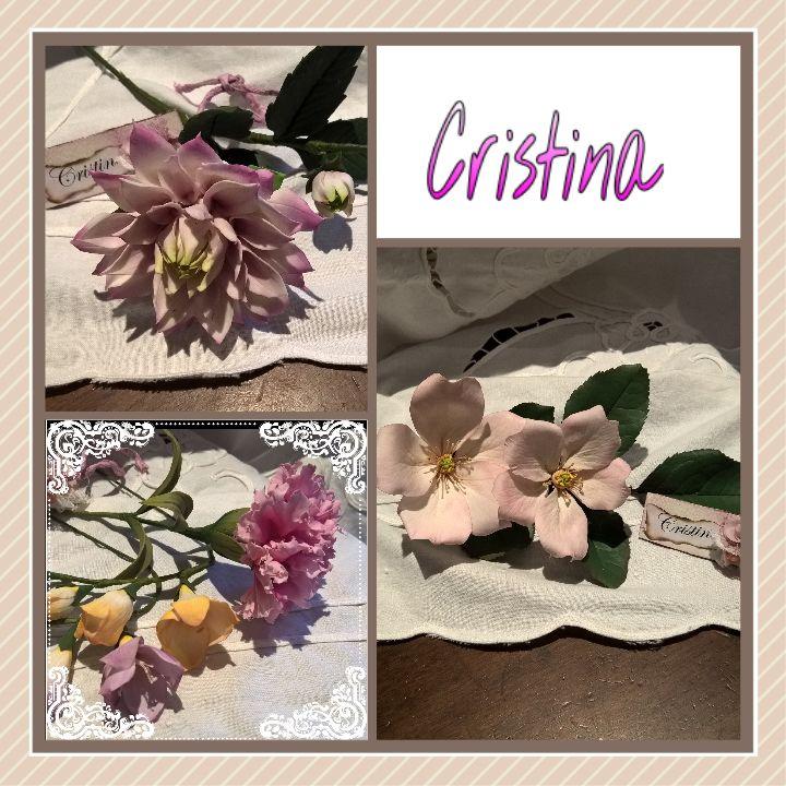 dalia...fresia garofano...rosa selvatica in porcellana fredda di Cristina R.