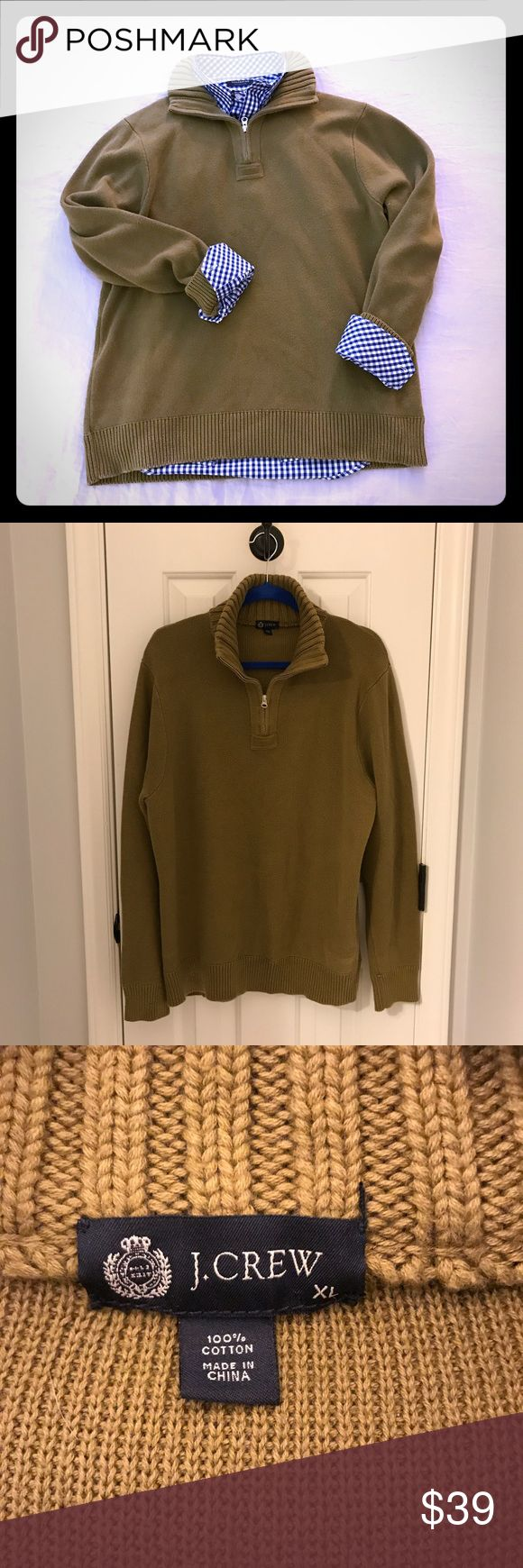 J.Crew Men's Sweater A staple for your closet. Men's half zip sweater. Perfect over button down shirts, great with jeans. 💯cotton. In great condition. J. Crew Sweaters