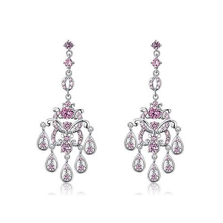 >> Click to Buy << Bridal Wedding Party Pageant Chandelier Pink Cubic Zirconia Dangle Earrings CSE588 #Affiliate