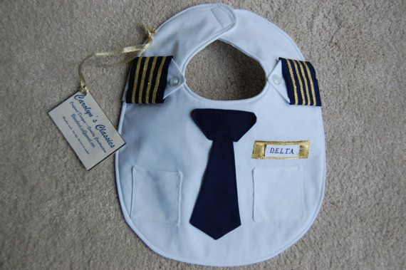 Absolutely adorable! The Airline Pilot Bib by CarolynsClassics on Etsy, $23.00