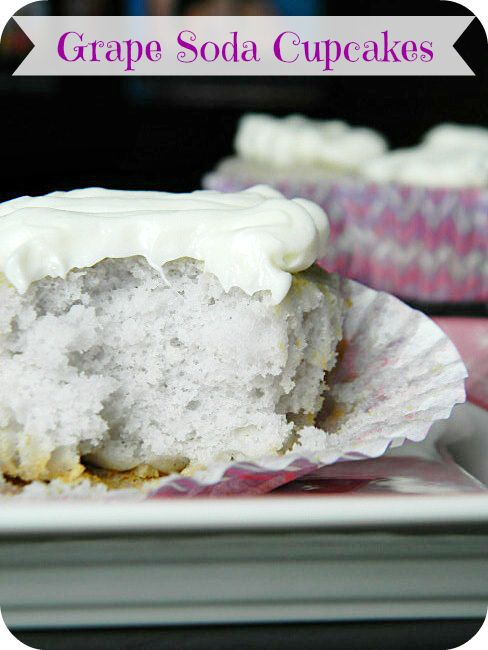 Only 3 ingredients: Grape Pop, Vanilla Cake Mix, and Frosting! #grape #cupcakes #cakebox