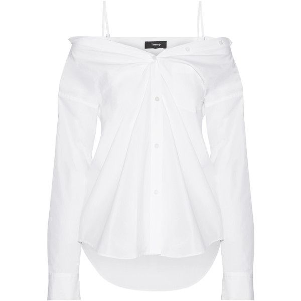Theory Tamalee off-the-shoulder cotton-poplin shirt ($310) ❤ liked on Polyvore featuring tops, shirts, white off the shoulder shirt, white tops, off the shoulder shirts, loose shirt and white strappy top