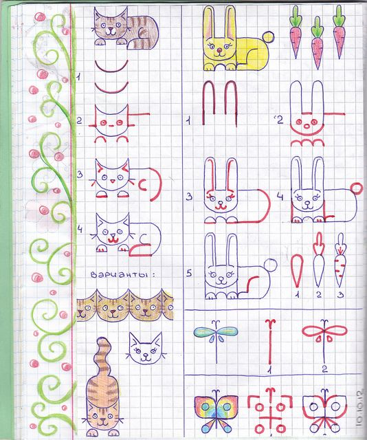 ArtCat86, via Flickr. How to draw cat, rabbit and butterfly.