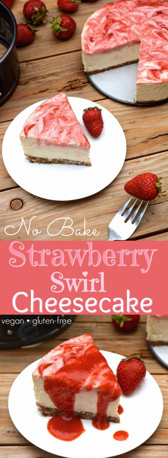 A vegan No-Bake Strawberry Swirl Cheesecake worth hoarding! It has the authentic cheesecake taste without the heavy dairy. This healthier, rich & creamy cheesecake is easy to whip up, only takes 10 ingredients and includes a fresh strawberry swirl top with extra for drizzling! (vegan, dairy-free, gluten-free) | Where You Get Your Protein